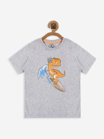 Bolts & Barrels | Bolts & Barrels Presents Grey Printed T-shirt,  round neck and short sleeves