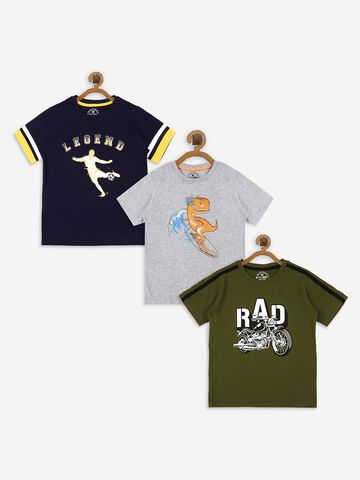 Bolts & Barrels | Bolts & Barrels Presents Pack of 3 Multicoloured printed T-shirt,  round neck and short sleeves