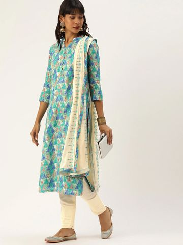 SATIMA   Sea Green Cotton Blend Dress Material
