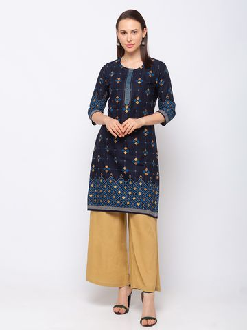 Ethnicity | Ethnicity Cotton Straight Women Blue Kurta