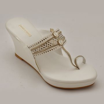 Trends & Trades | Womens White Laser Cut Faux Leather Kolhapuri Wedges