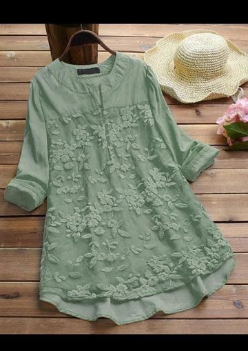 SIMARAA FAB | Net cotton Green color embroidered  tunic