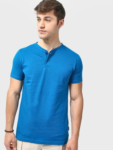 Blue Saint | Blue Saint Men's Blue Skinny Fit T-shirts