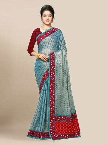 SATIMA | Women's Blue Embroidery Georgette Saree