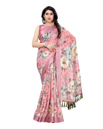 SATIMA | Satima Woman'S Pink Linen  Printed  Saree