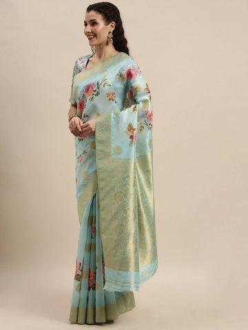 SATIMA | Women's Blue Digital Floral Print Woven Saree