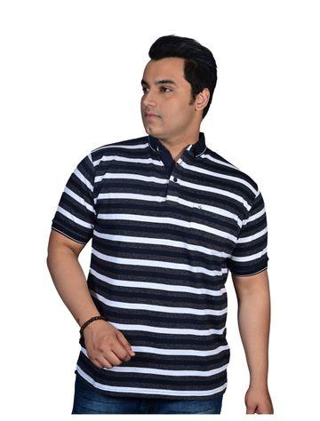 XMEX   XMEX Men's Plus Size White Cotton Casual Striped Half Sleeve Polo T-Shirt