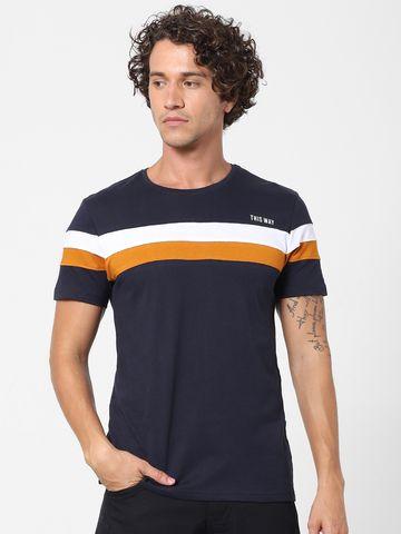 celio | Round Neck Cotton Blend Navy T-Shirt