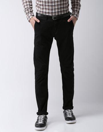 celio | Straight Fit Cotton Blend Black Trouser