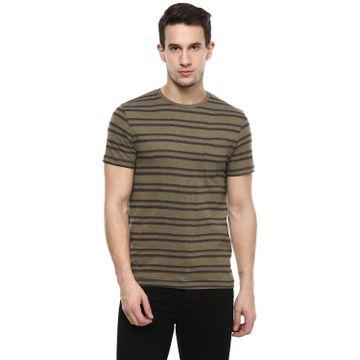 celio   Striped  Green T-Shirts