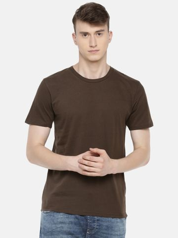 celio | 100% Cotton Brown Printed T-Shirt
