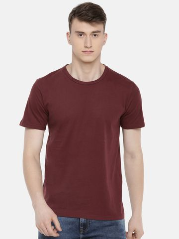 celio | 100% Cotton Burgundy Printed T-Shirt