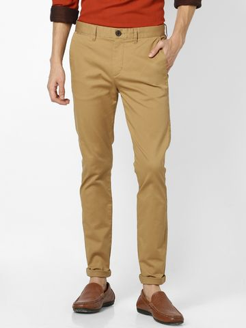 celio | Skinny Fit Cotton Blend Brown Trouser