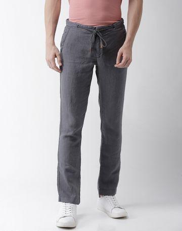 celio | 100% Linen Straight Fit Grey Trouser