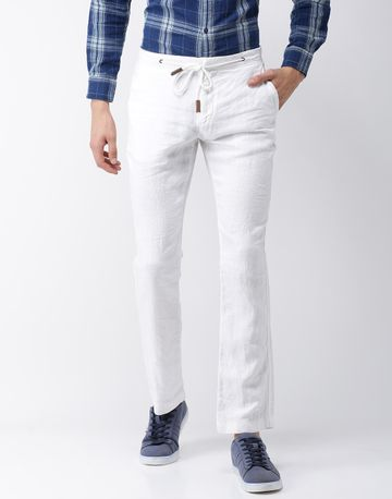 celio | 100% Linen Straight Fit White Trouser
