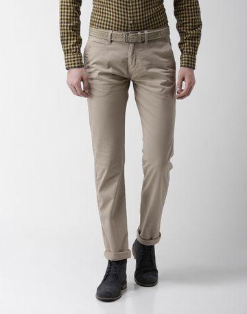celio | Straight Fit Cotton Blend Beige Trouser