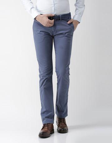 celio   Straight Fit Cotton Blend Blue Trouser