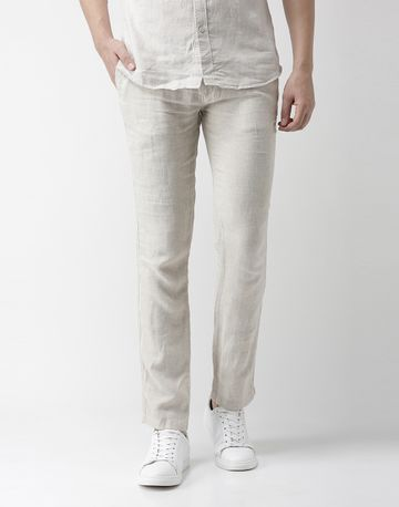 celio | 100% Linen Slim Fit Off White Trouser