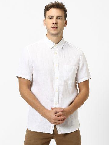 celio |  100% Linen White Casual Shirts