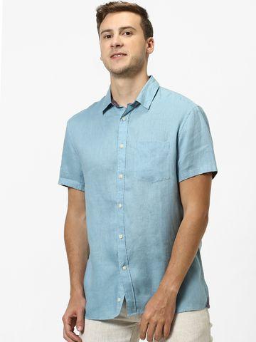 celio    100% Linen Blue Casual Shirts