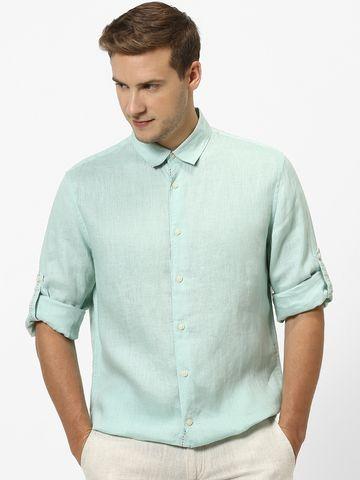 celio    100% Linen Green Casual Shirts