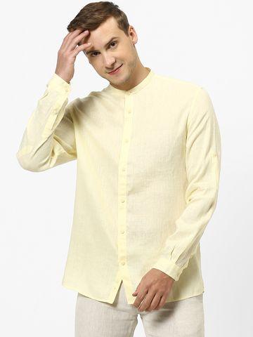 celio |  100% Linen Yellow Casual Shirts