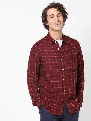 celio | Regular Fit Burgundy Soft Touch Shirt