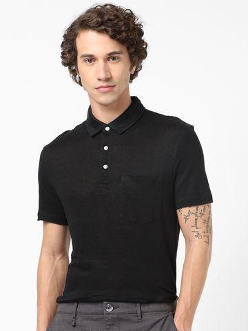 celio | Black Linen Polos