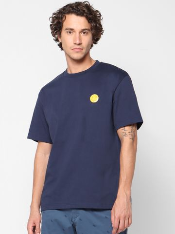 celio | Solid Crew Neck Blue T-Shirts