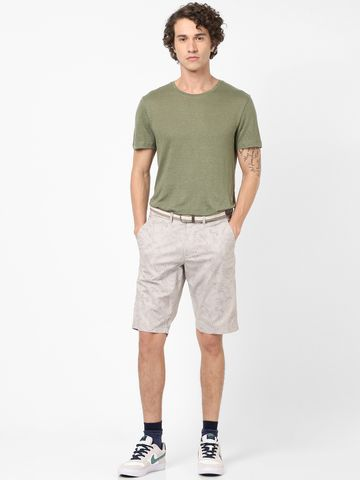 celio | Straight Fit Cotton Blend Beige Shorts