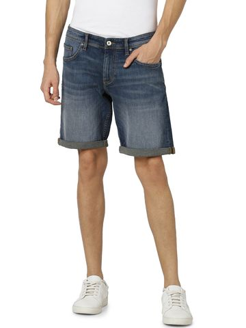 celio | Straight Fit Cotton Blend Blue Shorts