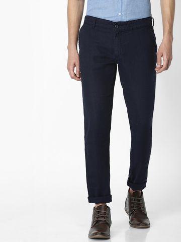 celio | 100% Linen Slim Fit Blue Trouser