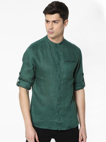 celio   100% Linen Dark Green Shirt