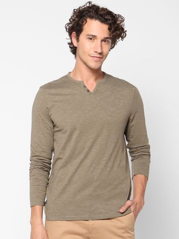 celio | Solid V-Neck Green T-Shirts