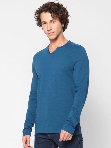 celio | Solid V-Neck Blue T-Shirts