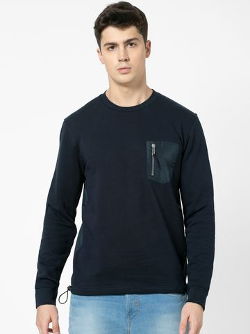celio | 100% Cotton straight Fit Navy Sweatshirt