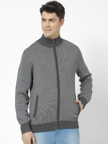 celio | Regular Fit high Neck Grey Sweatshirt