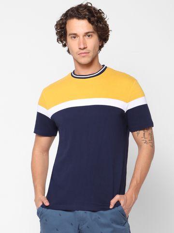 celio | Colorblocked Crew Neck Yellow T-Shirts