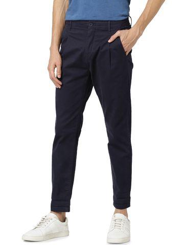 celio | Relaxed Fit Cotton Blend Blue Trouser