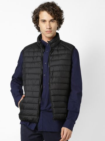 celio | Black Regular Fit Sleeveless Bomber Jacket