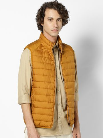 celio | Yellow Regular Fit Sleeveless Bomber Jacket
