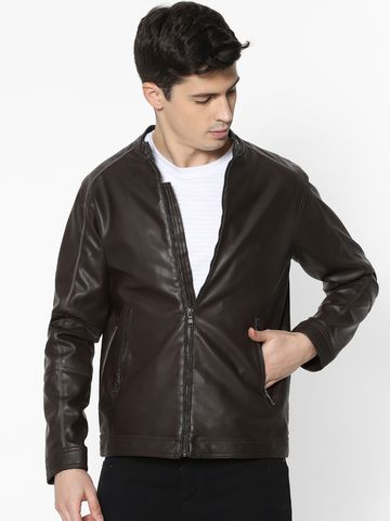 celio | Dark Brown Biker Jacket