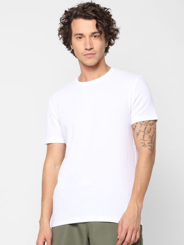 celio | Solid Crew Neck White T-Shirts