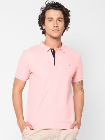 celio   Solid  Pink Polo T-Shirt