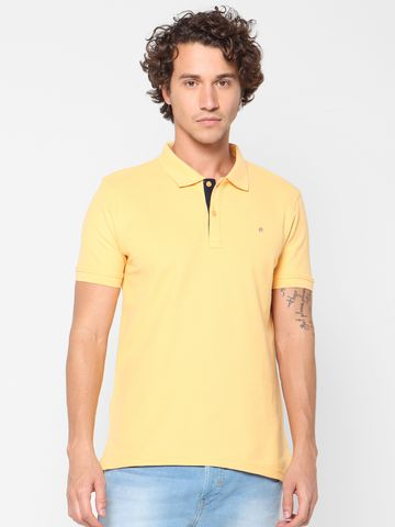celio | Solid  Yellow Polo T-Shirt