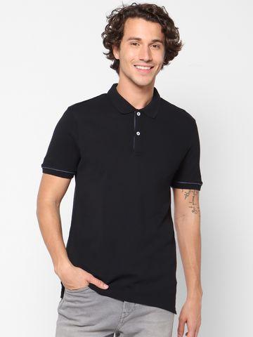 celio | Solid  Black Polo T-Shirt