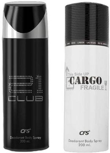 CFS | CFS 21 Club Code Black and Cargo White Deodorant Body Spray 200ML Each (Pack of 2, 400 ml)- For Men & Women)