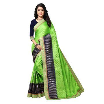 SATIMA   Elegant Green Silk Blend Embroidered Saree