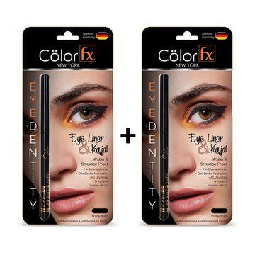 Color Fx | Color Fx Premium Kajal & Eyelinerin Jet BlackCombo, Set of 2, Smudge Proof & Water Proof and Long Lasting