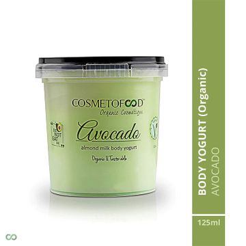 Cosmetofood | Organic Avocado Body Yogurt, moisturizer for combination skin with Fast absorbing, Non – greasy 125ml